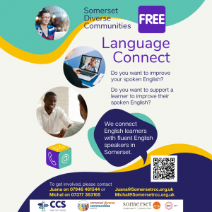 language connect poster connecting learners of english with fluent speakers in somerset